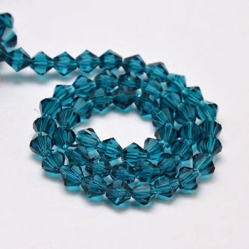 Steel Blue Grade AA 4mm Faceted Glass Bicone